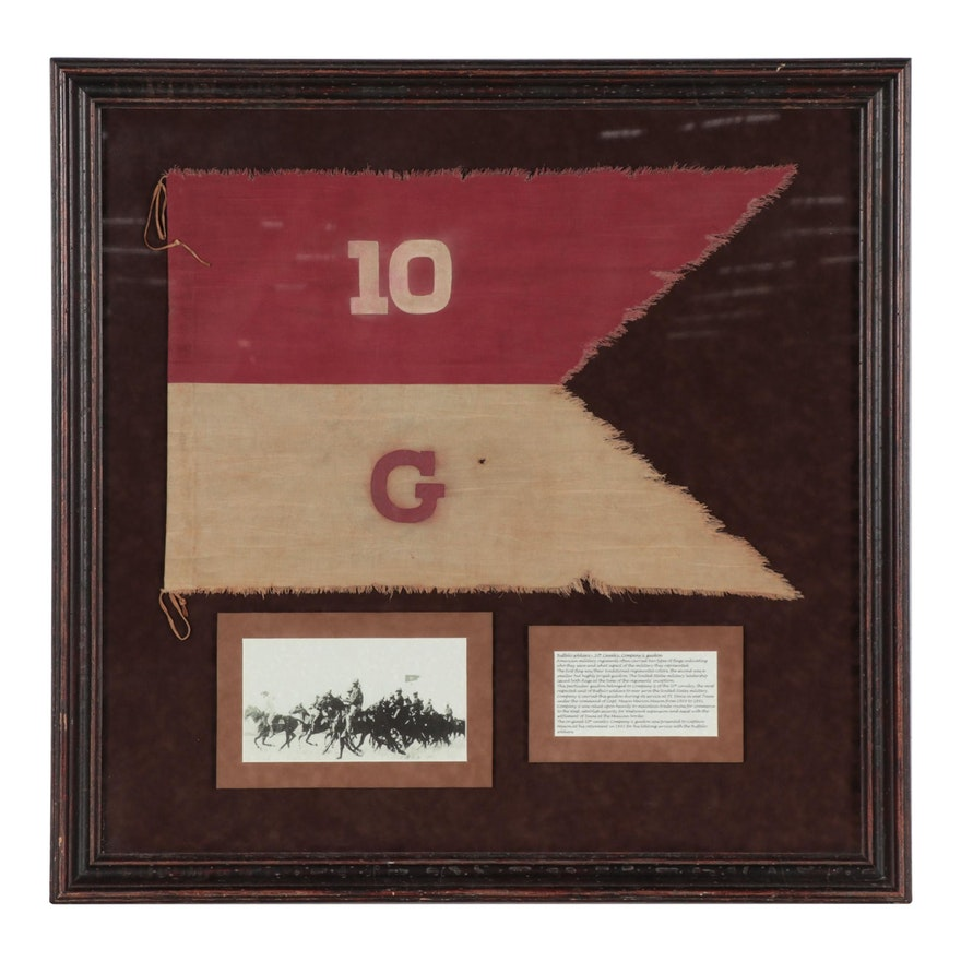 """10th Cavalry Company G """"Buffalo Soldiers"""" Guidon Flag, Late 19th Century"""