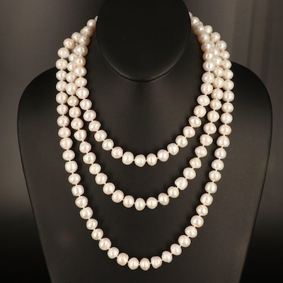 Endless Rope Length Pearl Necklace
