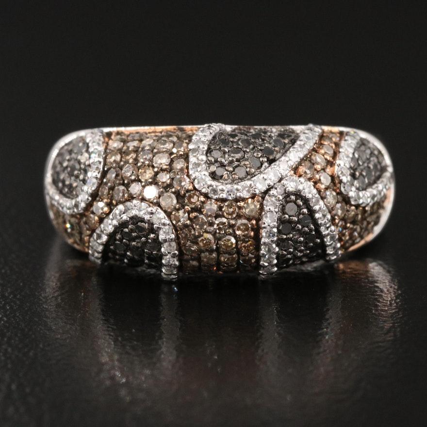 Sterling 1.00 CTW Pavé Diamond Dome Ring