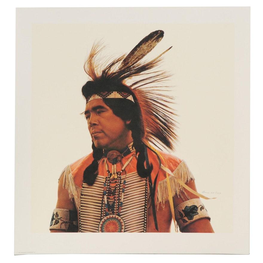 "James Elliott Bama Offset Lithograph ""Crow Indian Dancer,"" 1982"