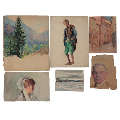 Elizabeth Gowdy Baker Watercolor and Oil Paintings, Early 20th Century