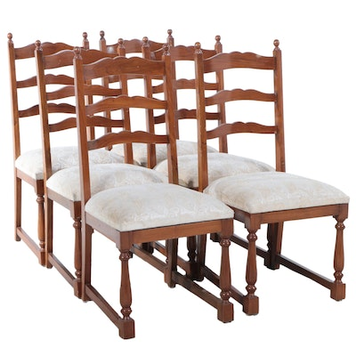 Jacobean Style Oak-Stained Dining Chairs, Early to Mid 20th Century
