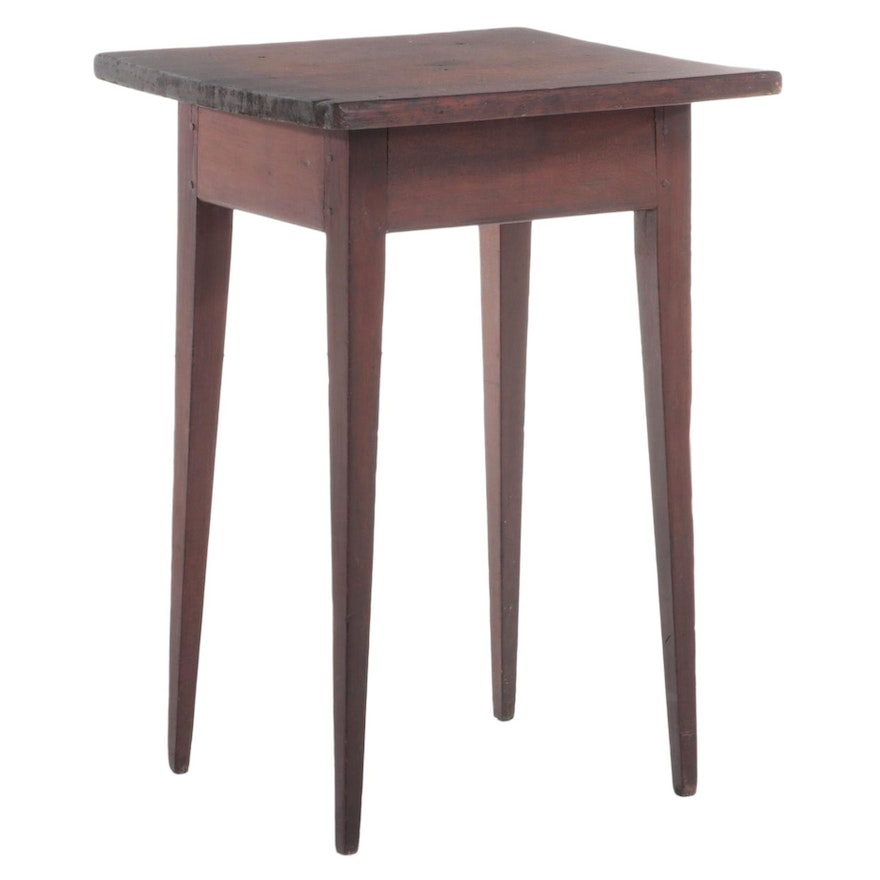 American Primitive Cherrywood and Poplar Side Table, 19th Century