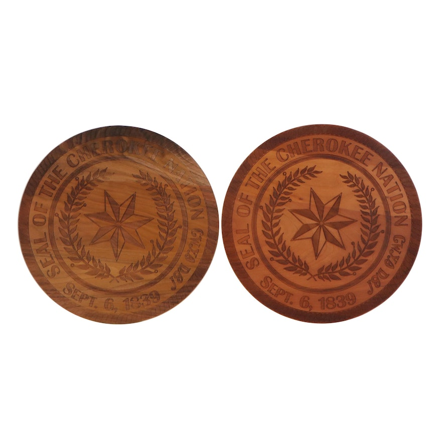 """Carved Wood Wall Hangings """"Seal of the Cherokee Nation Sept. 6, 1839"""""""