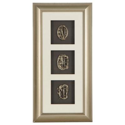 Framed Art Nouveau Metal Belt Buckles