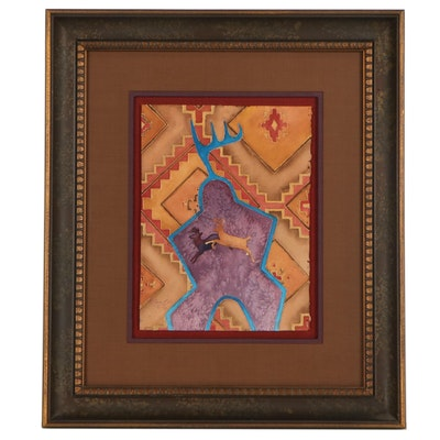 B. Jess Bell Mixed Media Painting Leaping Deer, 1992
