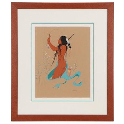 """Burgess Roye Gouache Painting """"Broken Arrow"""""""