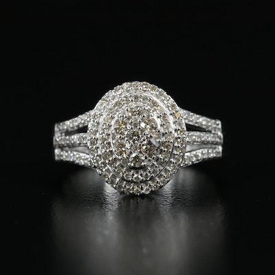 Sterling Diamond Multi-Halo Ring