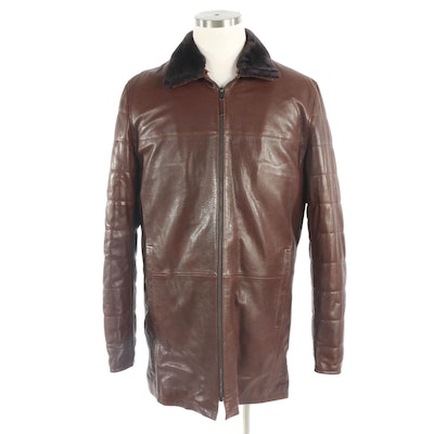 Men's Leather and Shearling Jacket with Detachable Collar, New with Merchant Tag