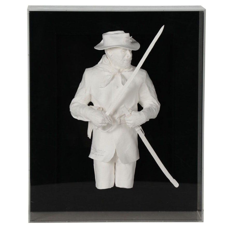 "Allen Eckman Paper Sculpture ""First Sargent, Grover Hankins - Buffalo Soldier"""