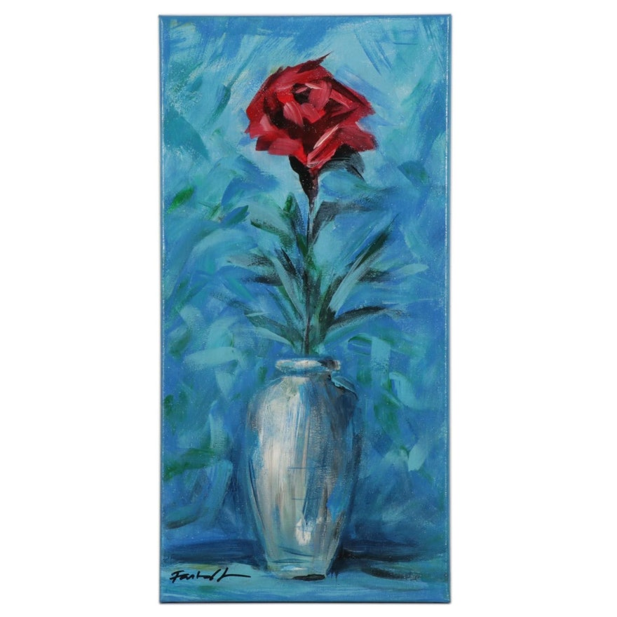 Farshad Lanjani Still Life of Rose Acrylic Painting, 21st Century