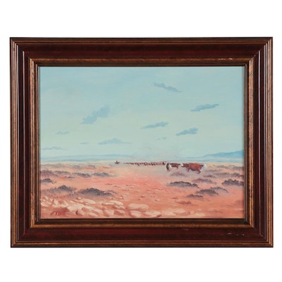 R. White Western Landscape Oil Painting