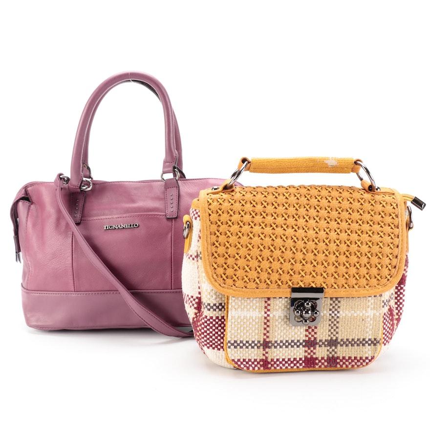 Tignanello Leather Shoulder Bag and Pretty Persuasions Top Handle Flap Bag