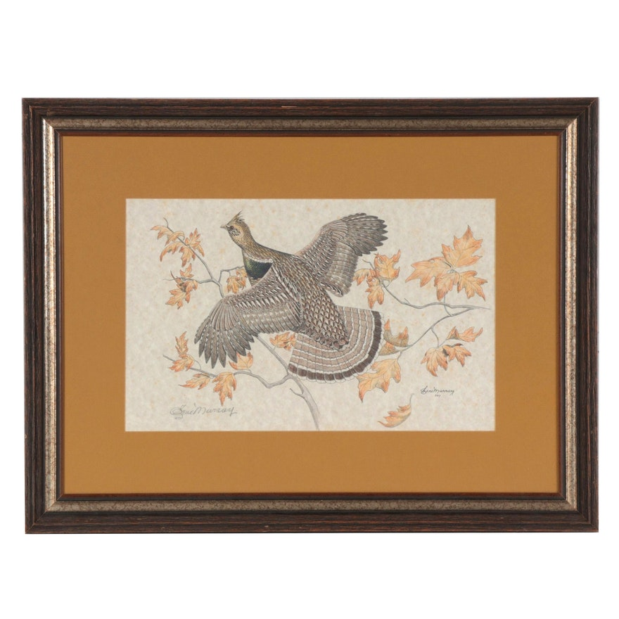 Gene Murray Hand-Colored Wildlife Lithograph of Grouse