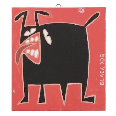 "Michael Sweeney Acrylic Painting ""Black Dog,"" 21st Century"