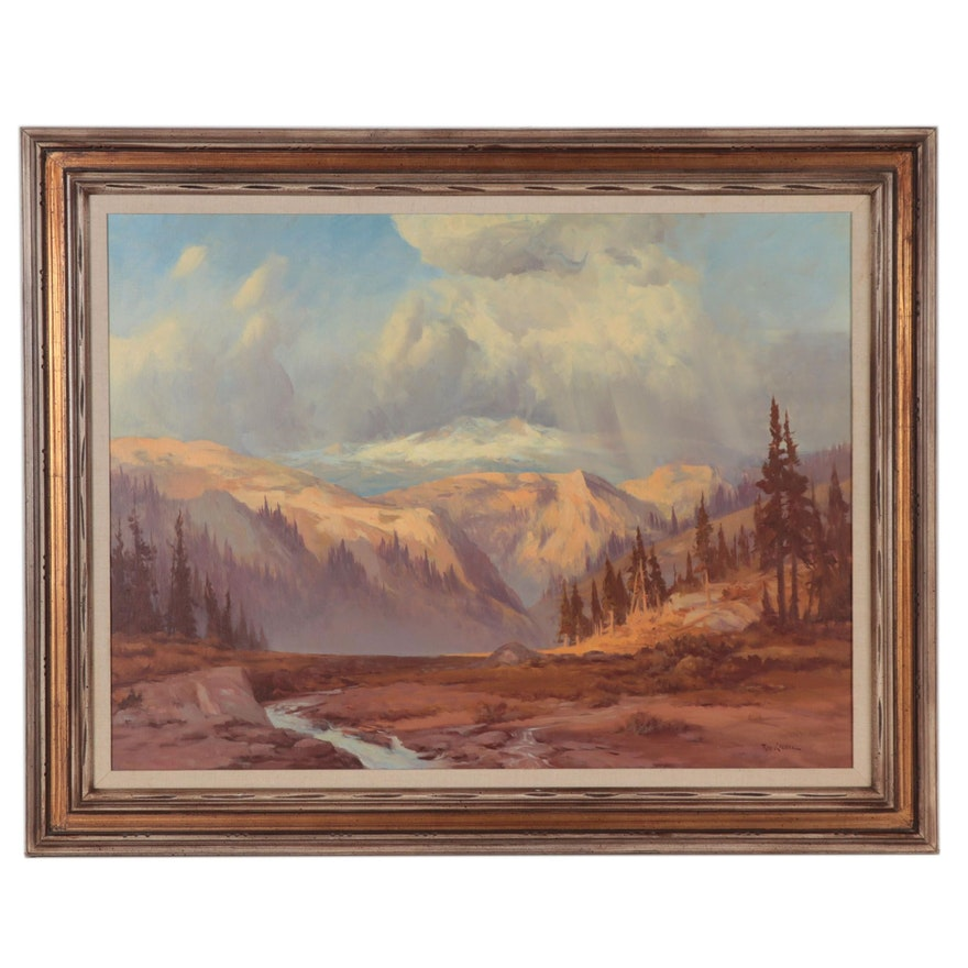 """Rod Goebel Oil Painting """"Meadow Mists"""""""
