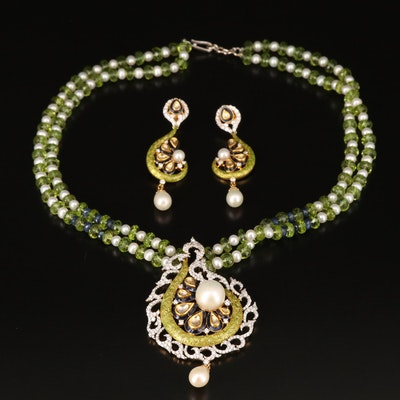 18K 3.36 CTW Diamond Necklace and Earring Set with Pearl, Peridot and Sapphire