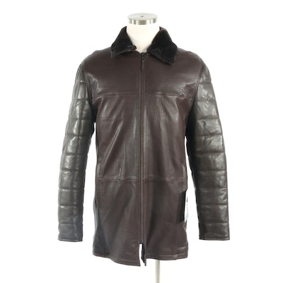 Men's Zip-Up Shearling Jacket with Removable Collar, New with Merchant Tag