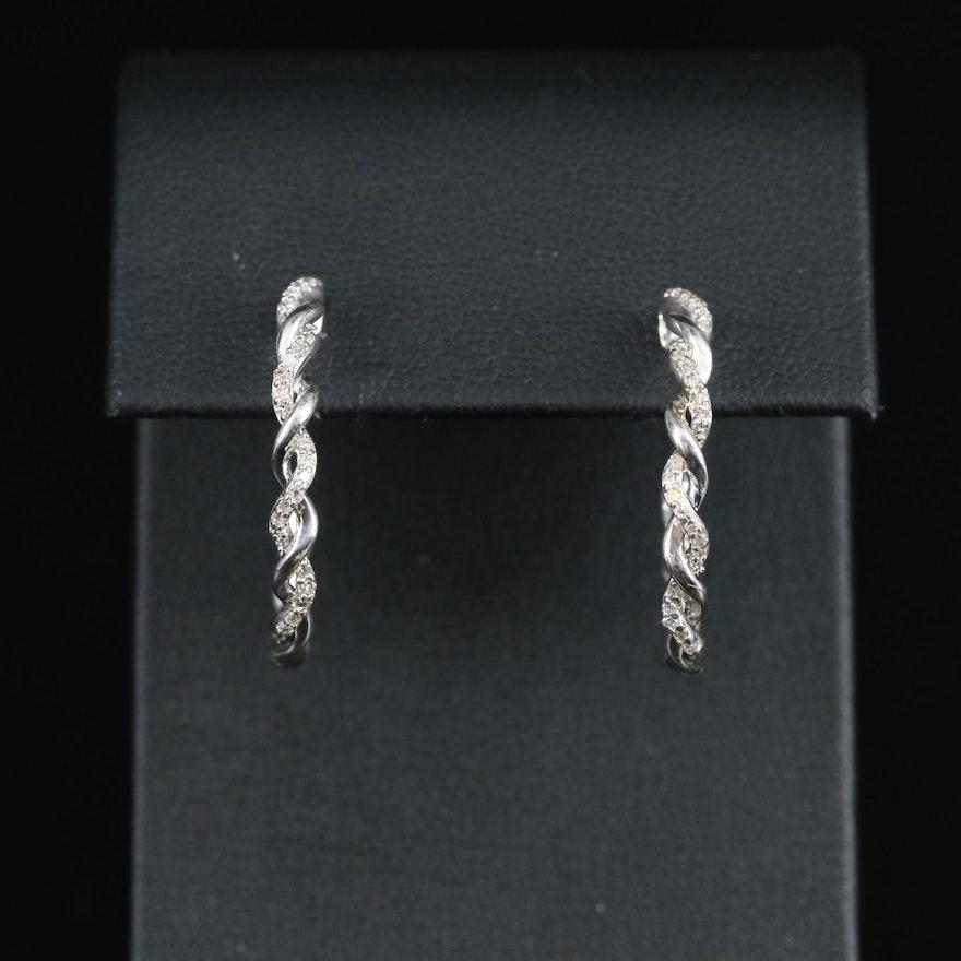 Sterling Diamond Twisted Hoop Earrings