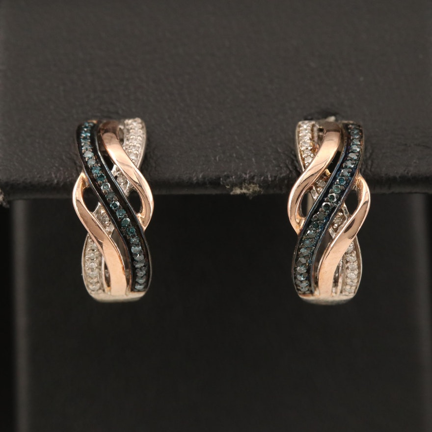 Sterling Diamond Hoop Earrings with 10K Rose Gold Accents