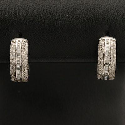 Sterling Diamond Huggie Hoop Earrings