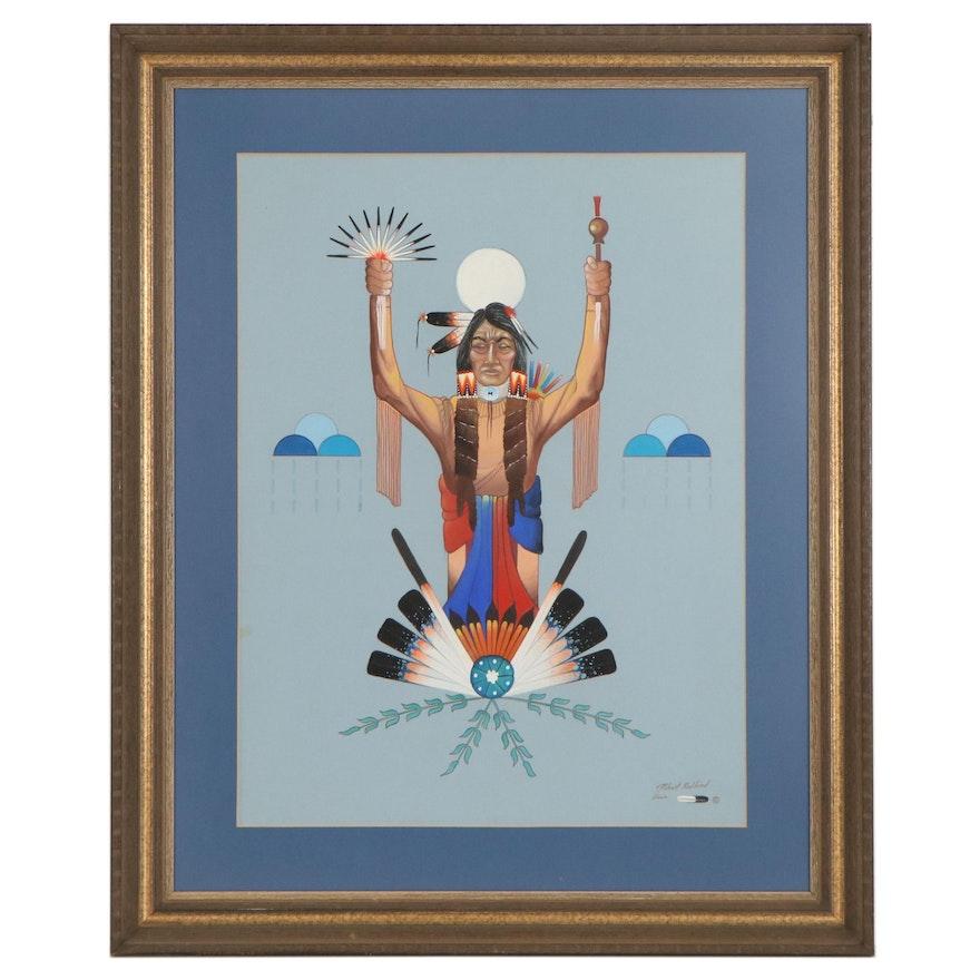 Robert Redbird Gouache Painting of Native American Motif