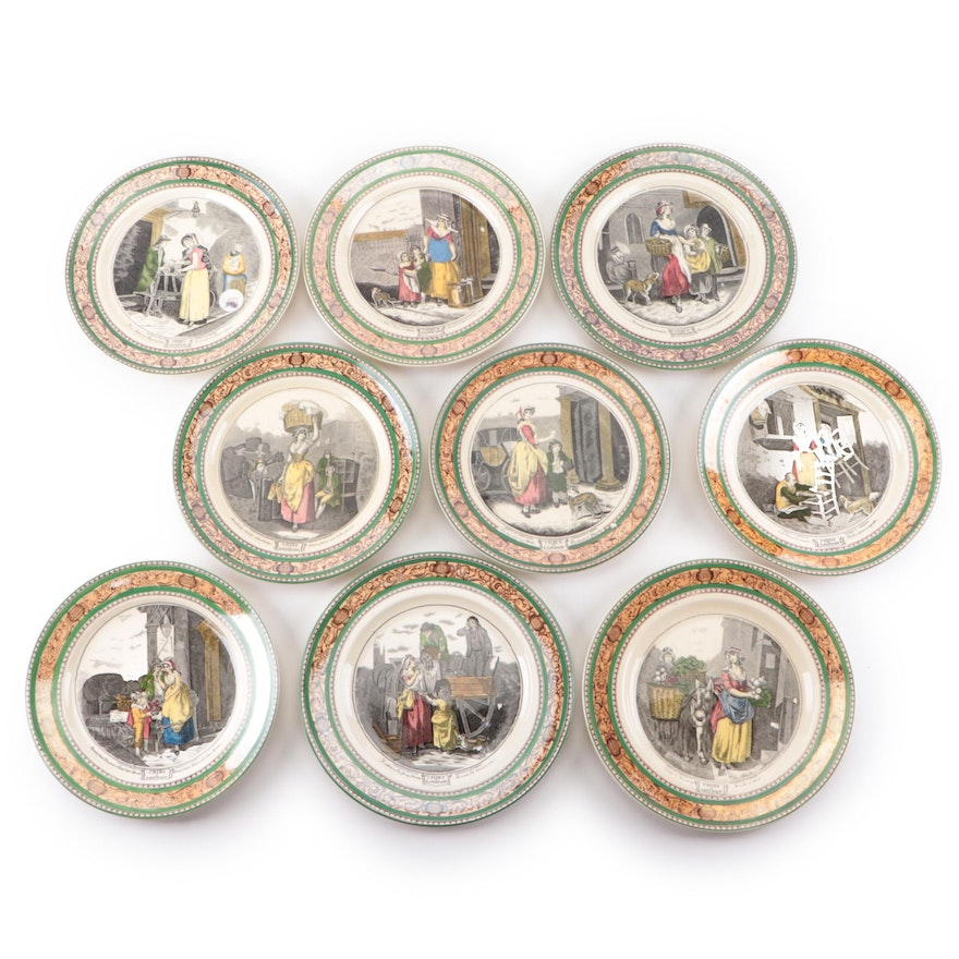 """Adams Ironstone """"Cries of London"""" Plates, Early to Mid 20th Century"""