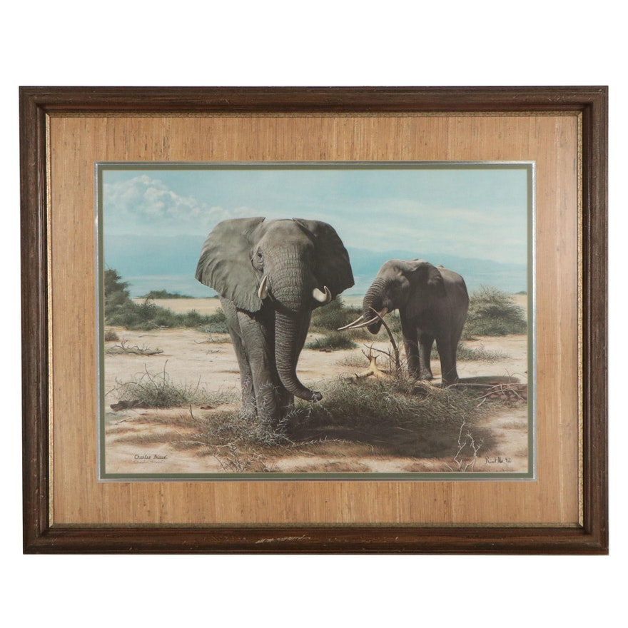 Charles Fracé  Offset Lithograph of Elephants