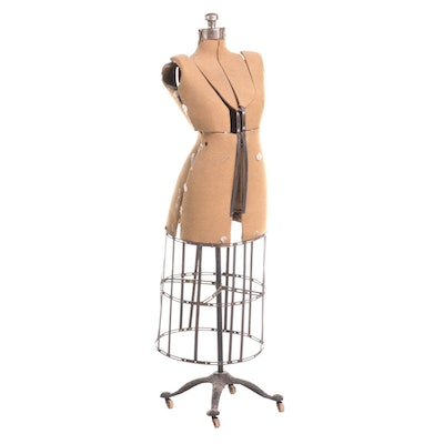 Seamstress Cage Dress Form on Wheeled Cast Iron Stand