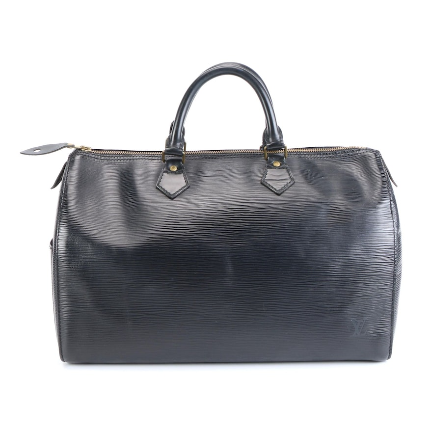 Louis Vuitton Speedy 35 Bag in Black Epi and Smooth Leather