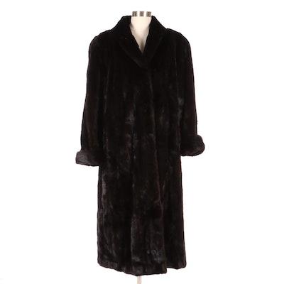 Adolfo Mahogany Mink Fur Shawl Collar Coat from Kotsovos