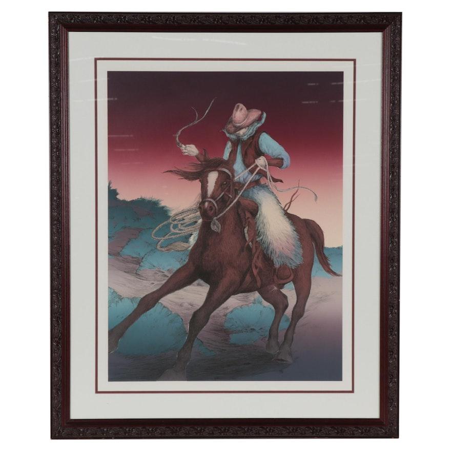 Lithograph of Cowboy on Horseback