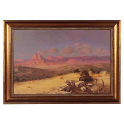 "Rod Goebel Southwestern Landscape Oil Painting ""Sunset Glow - Big Bend"""
