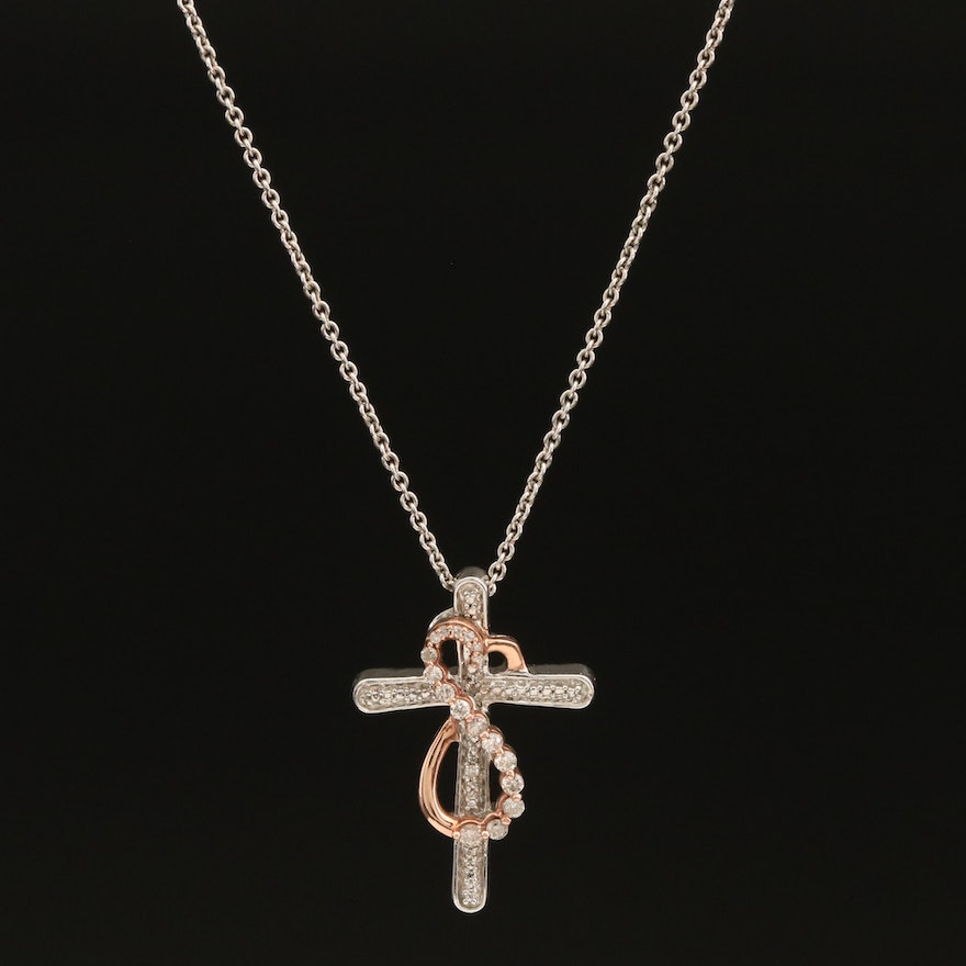 10K and Sterling Diamond Cross Pendant Necklace