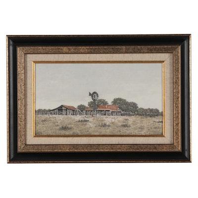 Bill Earnest Farm Landscape Ink and Watercolor Drawing, 1977
