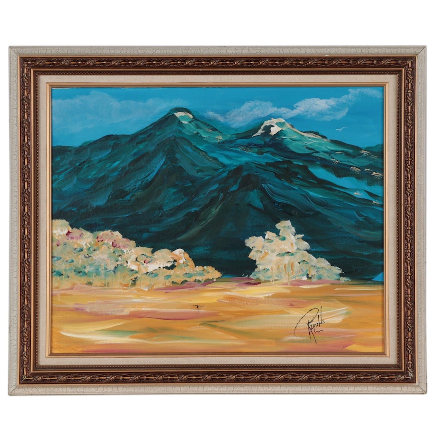 """Landscape Acrylic Painting """"Taos Mountains"""""""