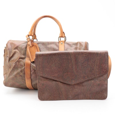 ETRO Duffel Bag and Envelope Bag in Paisley Coated Canvas with Leather Trim