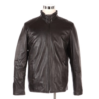 Men's Leather Zip-Up Reversible Jacket, New with Merchant Tag