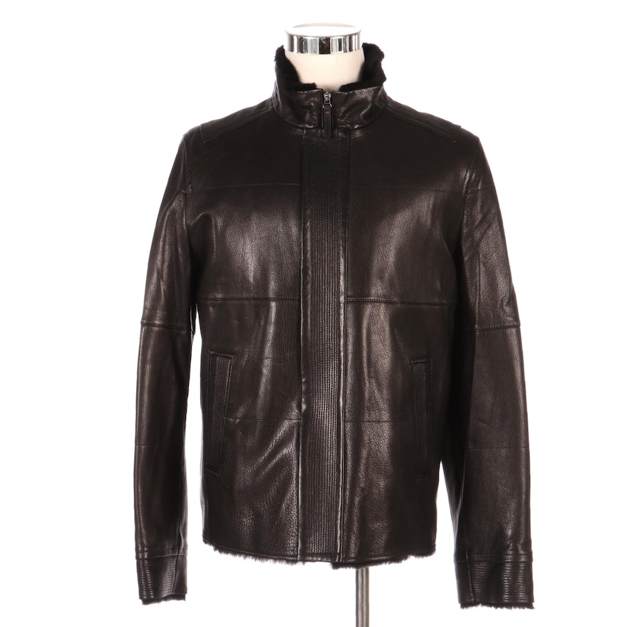 Men's Autunno Lambskin Leather and Shearling Zip Jacket, New with Merchant Tag