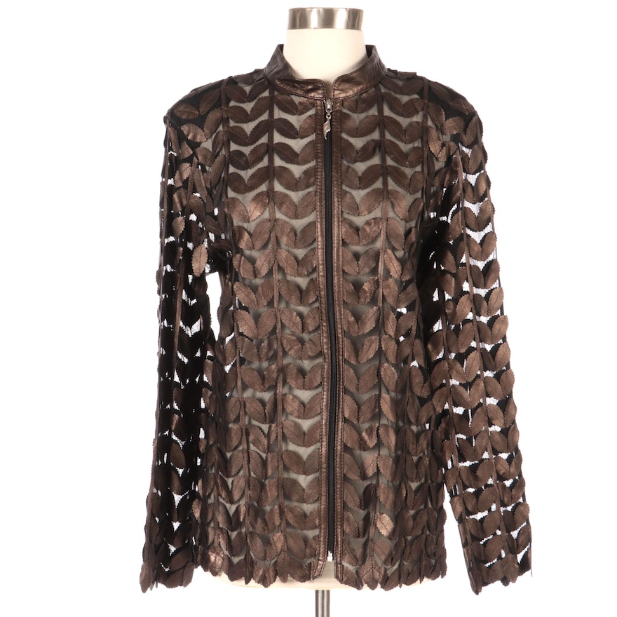 Barcelino Leaf Pattern Leather Cutout Mesh Jacket, New with Merchant Tag
