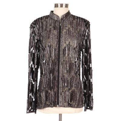 Kushi Printed Snakeskin Leather Cutout Mesh Jacket, New with Merchant Tag