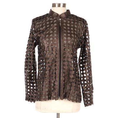 Kushi Bronze Geometric Leather Cutout Mesh Zipper Jacket, New with Merchant Tag
