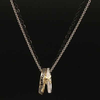 Sterling, Stainless Steel and 10K Diamond Double Ring Necklace