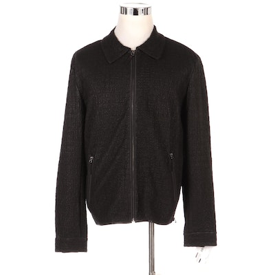 Men's Vericci Perforated Leather Zipper Front Jacket, New with Merchant Tag