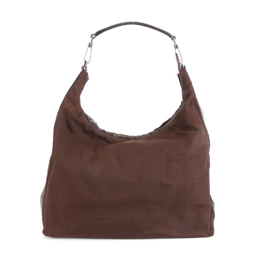 Gucci Hobo Shoulder Bag in Brown Nylon with Leather