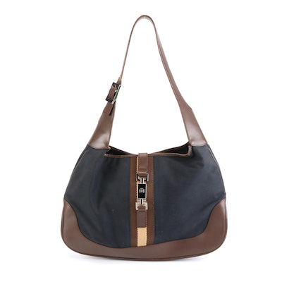 Gucci New Jackie Shoulder Bag in Black Cotton with Brown Leather