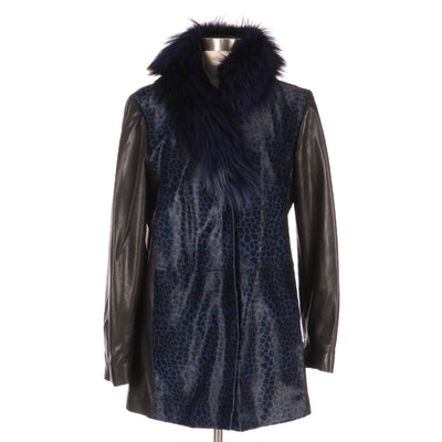 Autunno Cheetah Print Calf Hair/Leather Coat with Fox Fur, New with Merchant Tag