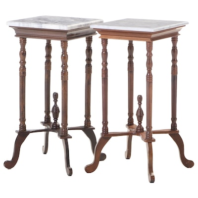 Two Victorian Style Walnut-Stained and Marble Top Side Tables