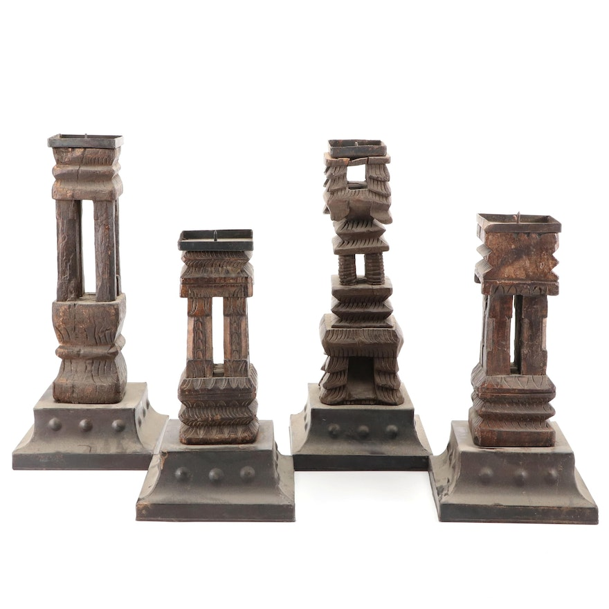 Wooden Architectural Salvage Style Candle Prickets