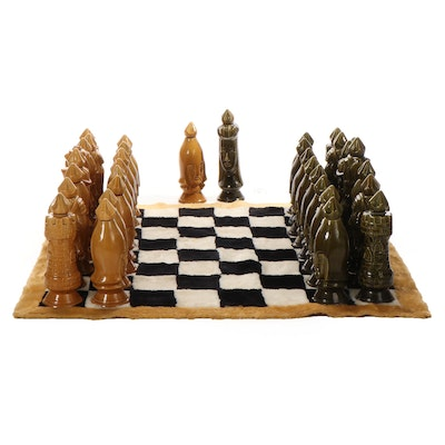 Old Crow Ceramic Chess Piece Decanters with Acrylic Rug Board, Vintage